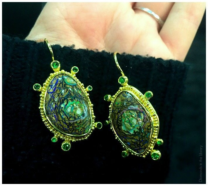 A spectacular pair of opal earrings by Zaffiro Jewelry