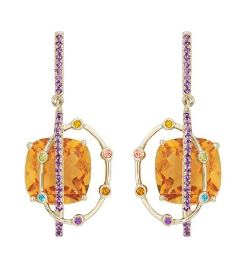 Arya Esha Galaxy earrings, with orange citrine (13.55 ctw), amethyst (0.40 ctw), yellow citrine, peridot, pink tourmaline, London Blue topaz, in recycled 18k yellow, white, or rose gold