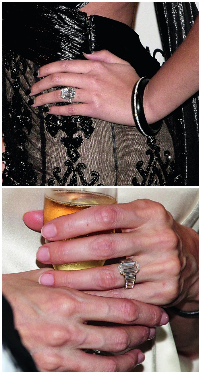 Celebrity engagement rings - Beyonce's Lorraine Schwartz on the top, Angelina Jolie's Robert Procop ring on the bottom.