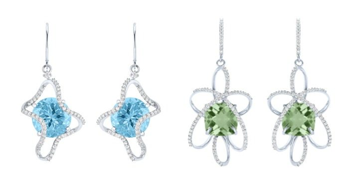 Earrings from the Arya Esha Galaxy collection; prasiolite and blue topaz with diamonds in recycled gold.