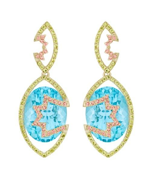Galaxy collection Ara earrings, featuring Swiss blue topaz (24.25 ctw) accented with pink tourmaline (0.37 ctw) and green peridot (0.78 ctw) set in recycled 18k gold, yellow, white, or rose finish.