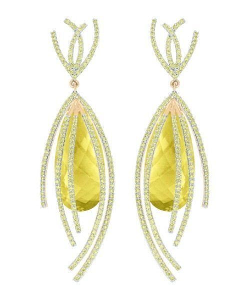 Galaxy collection shooting star earrings featuring lemon quartz (41.50ctw) and peridot (3.49ctw) set in recycled 18k gold, yellow, white, or rose finish