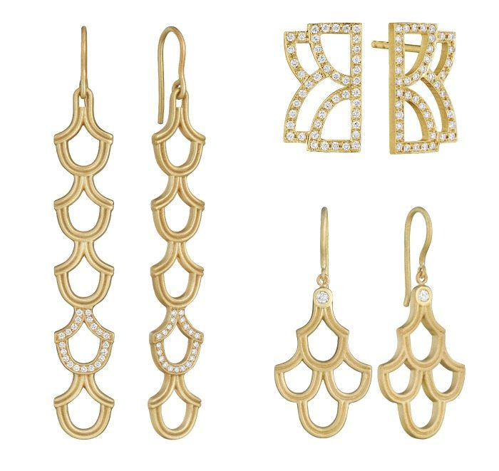 Gold and diamond earrings by Doryn Wallach