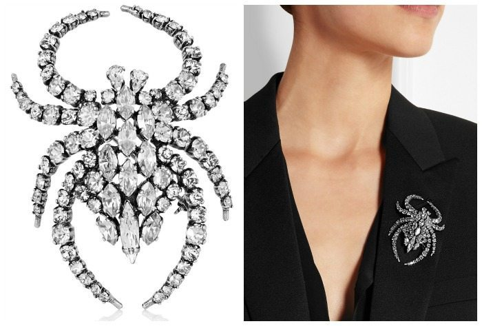 Saint Laurent silver-plated crystal spider brooch