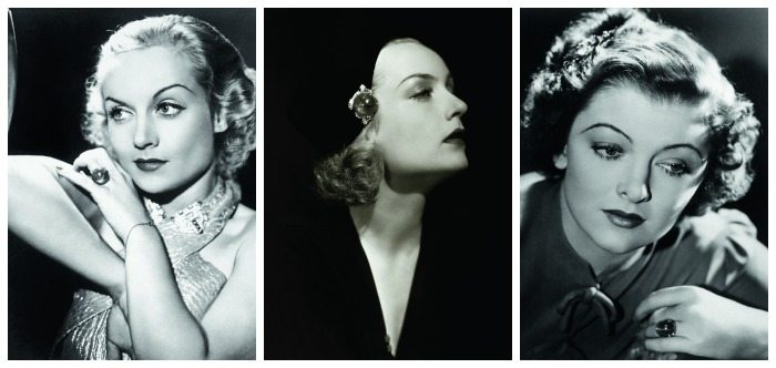 Stars in star sapphires - Carole Lombard in the first two frames, Myrna Loy on the far right.