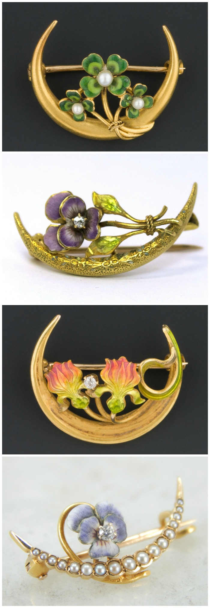These antique brooches are what's known as a Victorian honeymoon brooch - they were traditionally given to brides.