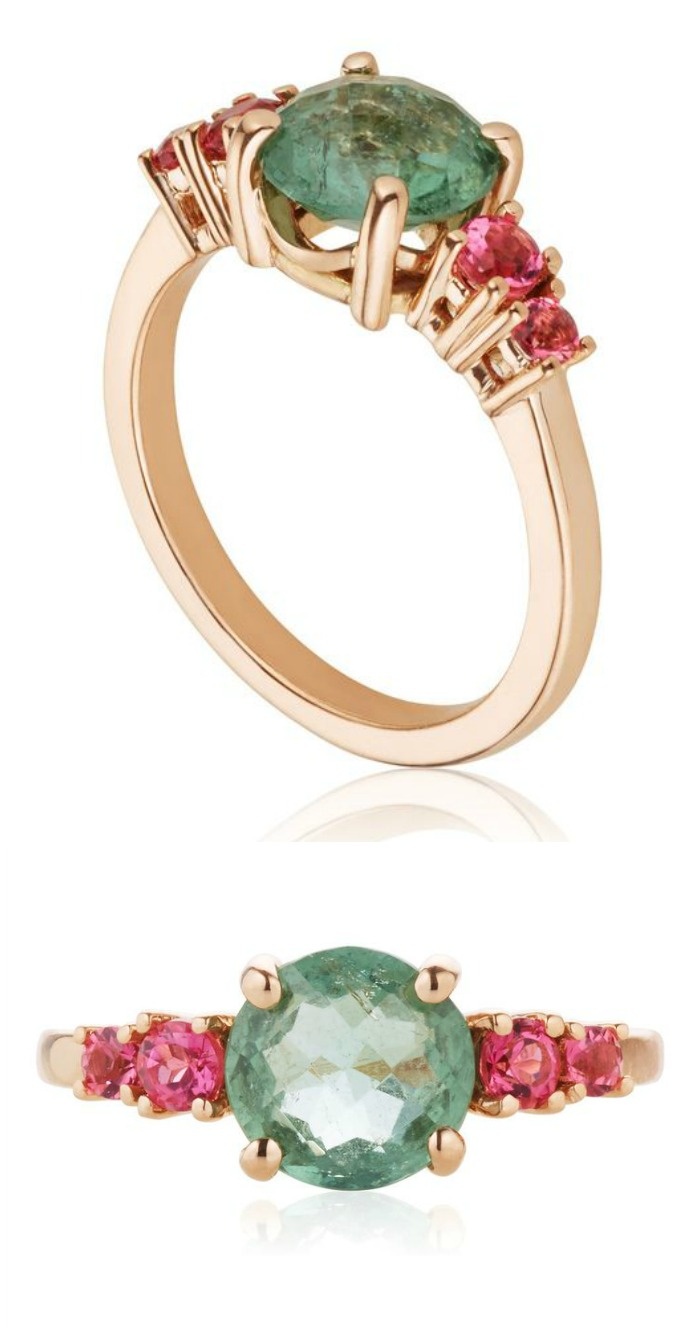 This custom-designed ring by Salt + Stone features green and pink tourmaline in rose gold.