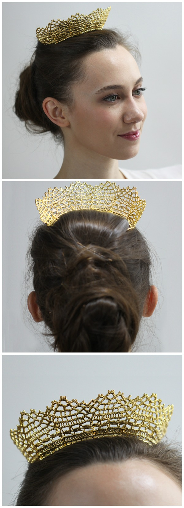 This gold lace tiara by Monika Knutsson is made from actual antique lace dipped in 24k rose or yellow gold. Also available in silver.