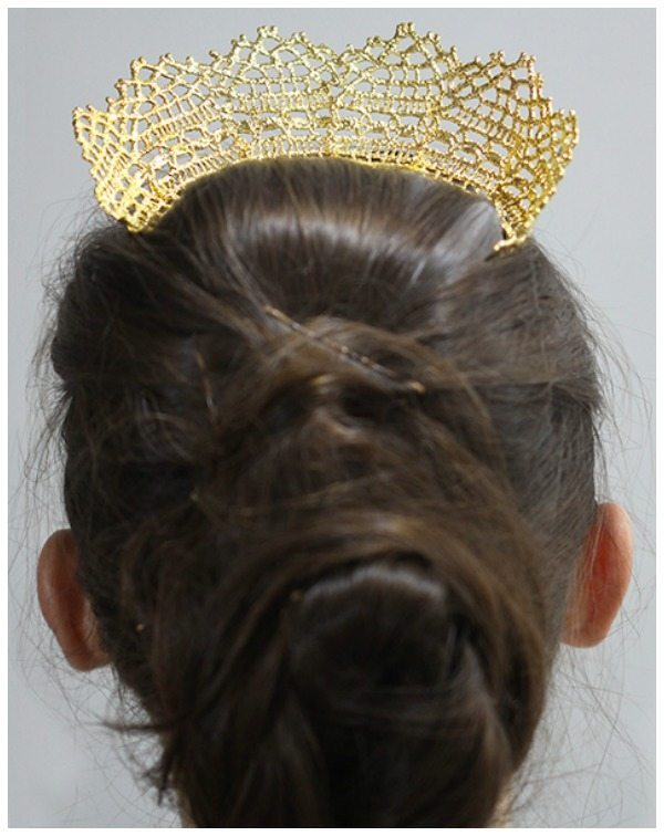 This gold lace tiara by Monika Knutsson is made from actual antique lace dipped in 24k yellow or rose gold. Also available in silver.