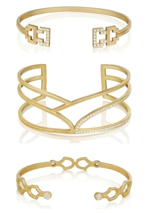 Three gold and diamond bracelets by Doryn Wallach