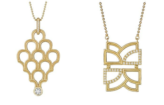 Two gold and diamond necklaces by Doryn Wallach jewelry