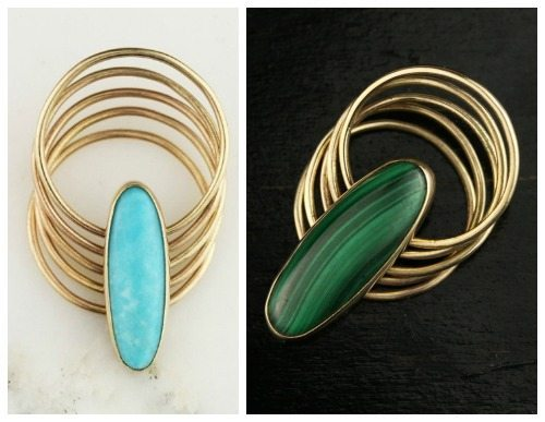 14k yellow gold stacking ring from Hoard Jewelry in turquoise or malachite.