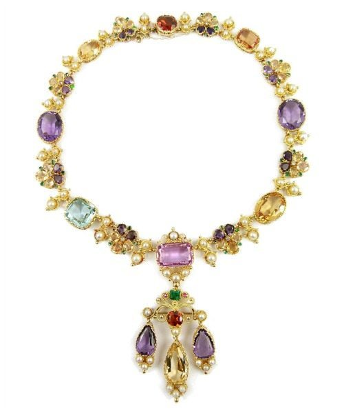 19th century vari-coloured gem, pearl and gold cluster pendant necklace, English c.1840.