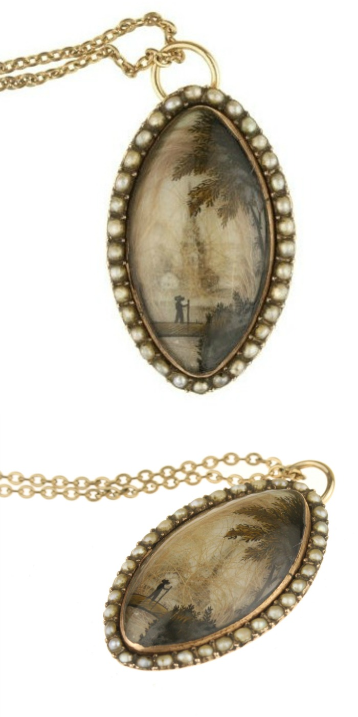 A Georgian mourning pendant, late 18th. 12k rose gold, Essex crystal, uncultured seed pearls, hair, pinchbeck chain century to early 19th century.