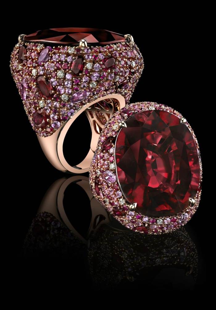 A Robert Procop ring with a 56.31ct tw cushion rubellite, 13.48 ct pink sapphire, 7.05ct ruby, 0.63ct diamonds set in 18k rose gold