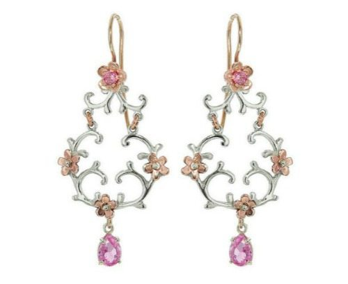 A pair of handmade Laurent Gandini earrings in 9 karat white gold with rose gold flowers and pink tourmaline stones.