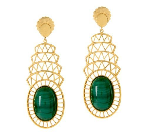 Alexandra Alberta's Khrysler earrings in 18k gold plated silver with malachite.