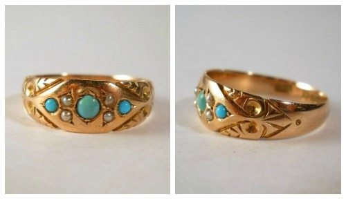 An antique late Victorian ring in 9k gold with turquoise and pearls. At Susie's Timeless Treasures.