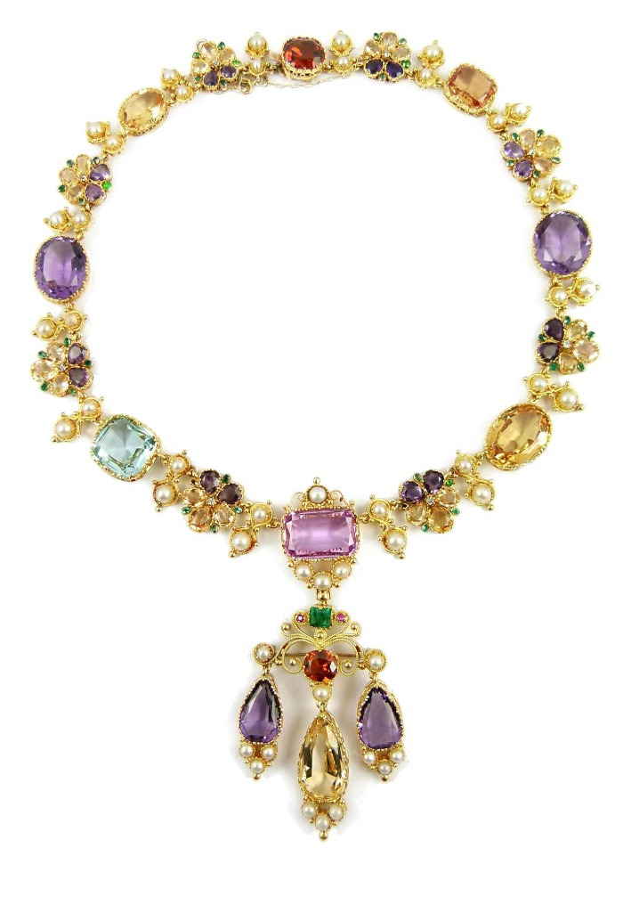 Antique 19th century vari-coloured gem, pearl and gold cluster pendant necklace, English c.1840.