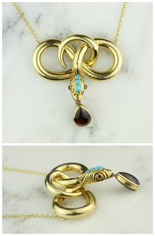 Antique Regency 15k yellow gold turquoise, ruby and garnet snake mourning necklace with hair memento.