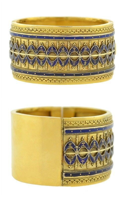 Antique Victorian Etruscan revival bracelet in gold with blue.