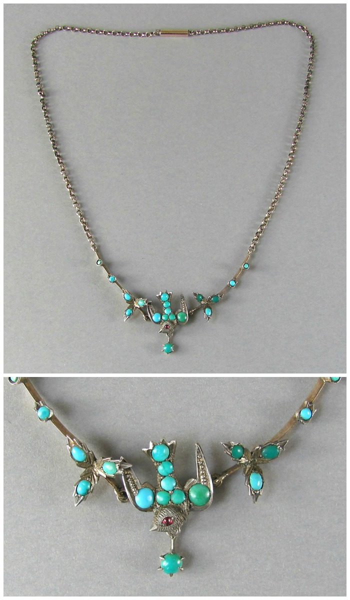 Antique Victorian silver bird necklace with turquoise and and ruby eye; circa 1800's.