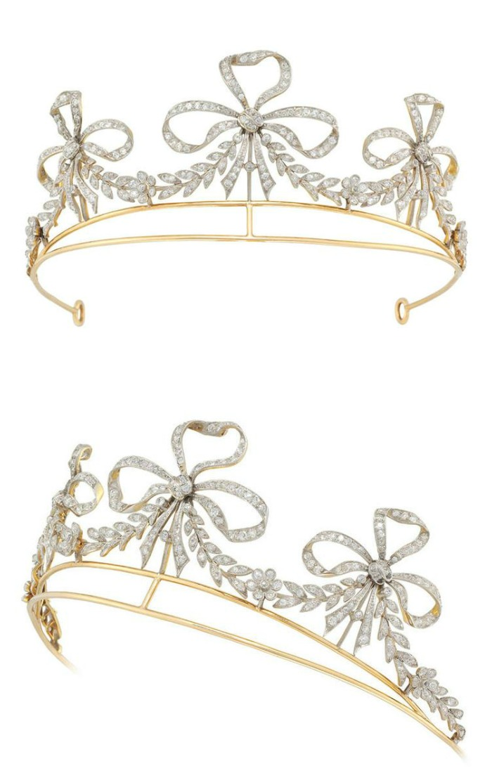 Antique diamond scroll tiara, circa 1900. By Bailey, Banks and Biddle.
