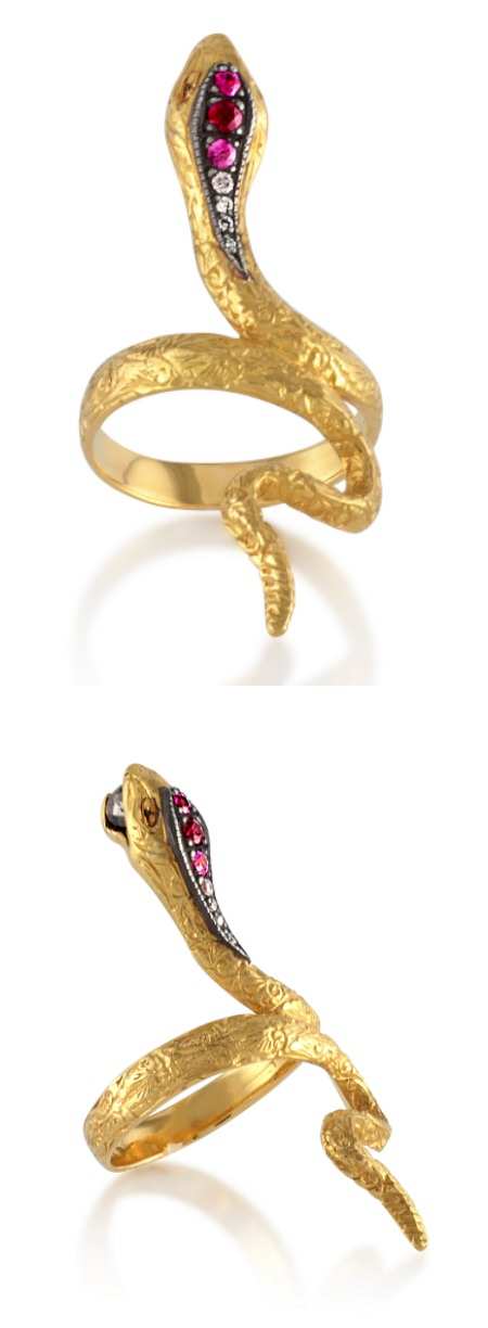 Arman Sarkisyan snake ring in 22k gold with black diamonds and pink tourmaline. At Stone and Strand.