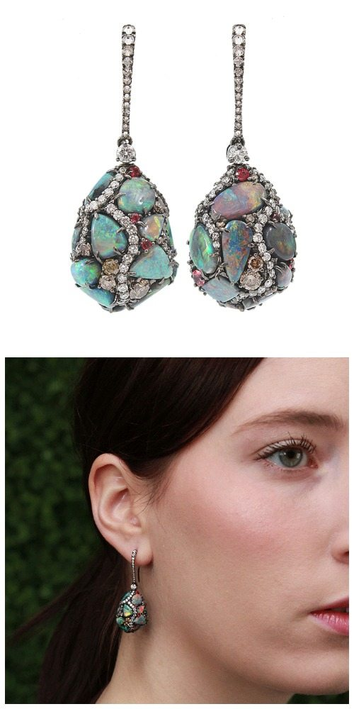 Arunashi black opal egg drop earrings with diamonds with model view.