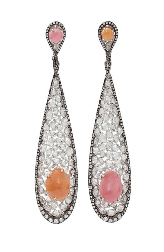 Arunashi's conch pearl and diamond earrings.