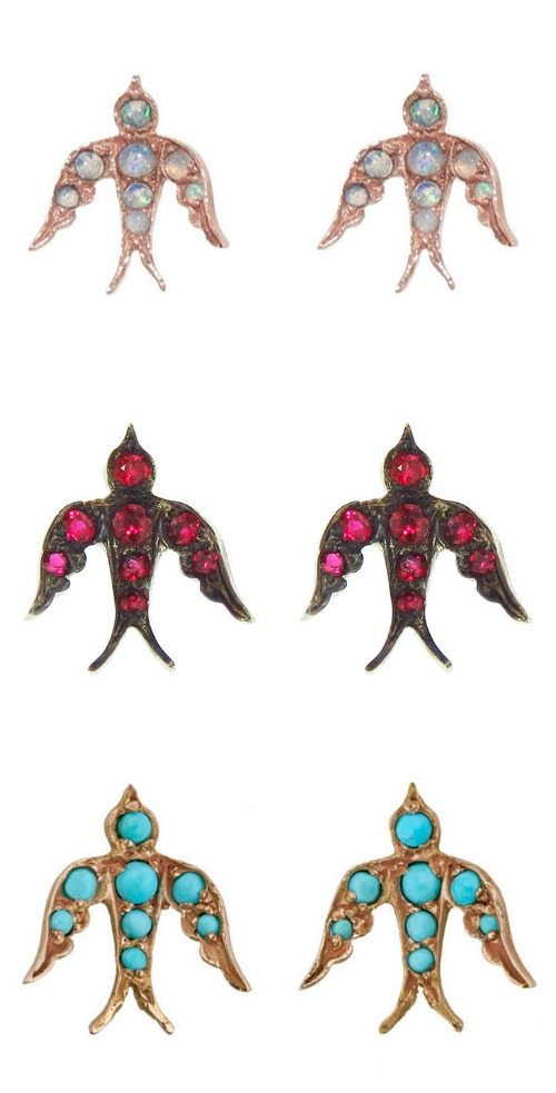 Blackbird and the Snow gemstone bird studs with opals, rubies, or turquoise.
