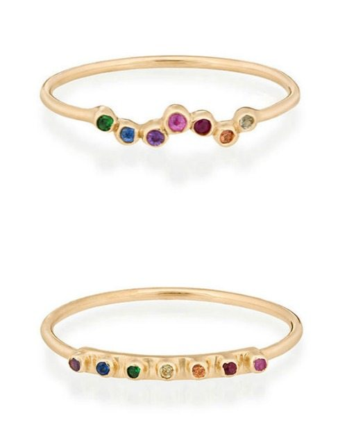 Celine Daoust rainbow sapphire rings in gold
