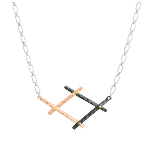 Dana Bronfman Diana necklace in 18k rose gold with black rhodium and yellow gold