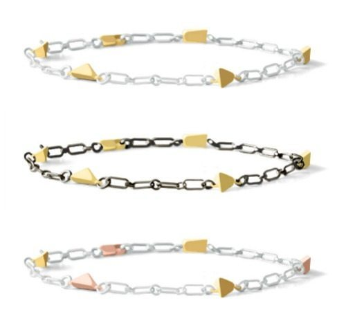 Dana Bronfman Pyramid collection chain bracelet in yellow gold, rose gold, sterling silver, or oxidized silver.