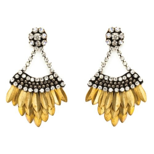 Deepa Gurnani layered feather drop earrings in gold with crystals.