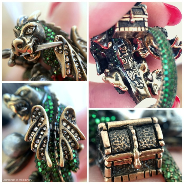 Details of the Wendy Brandes Dragon and Knight Maneater ring.