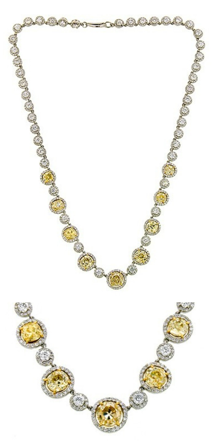 Diamond Riviere Necklace, featuring nine antique fancy yellow, Old Mine cut diamonds weighing app. 8.90ctw and 45 Round Brilliant cut diamonds weighing app. 6.51ctw.