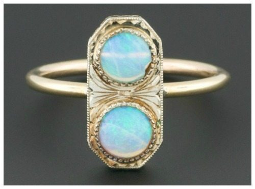 Double opal ring made from a converted antique Art Deco stickpin.