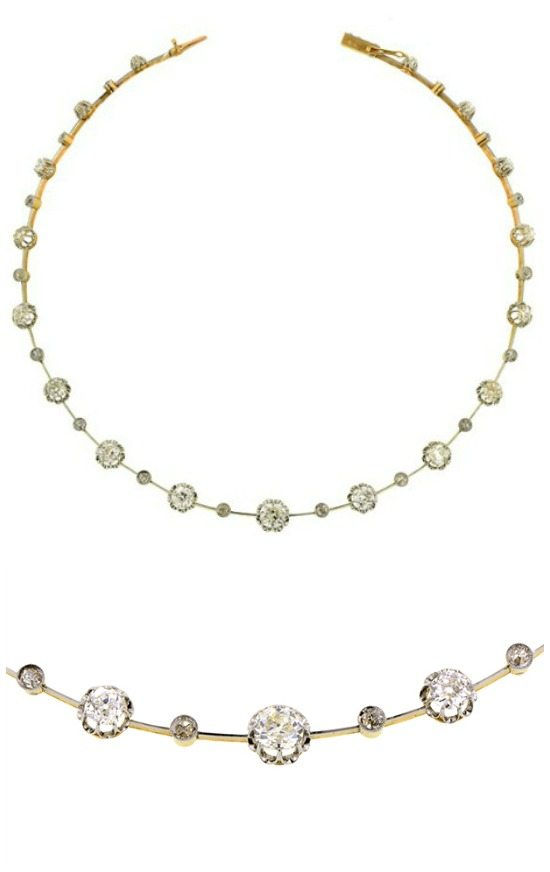 Edwardian Old Mine Diamond Necklace in platinum topped 18k gold. French, circa 1915.