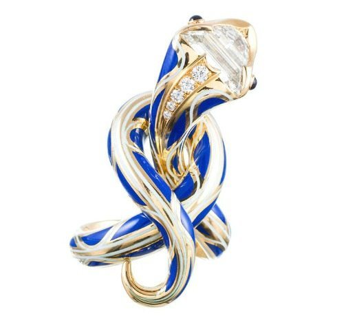 Enamel serpent ring by Juan daSilva in gold with blue enamel and fancy-cut diamonds.