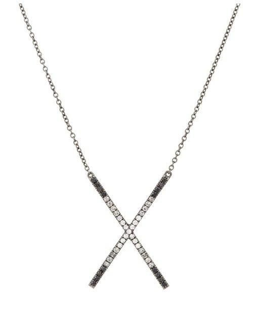 Eva Fehren Ombre X pendant necklace with white, black, and gray diamonds in blackened white gold.