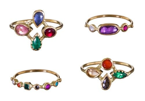 Gemstone and gold rings by French designer Dorette.