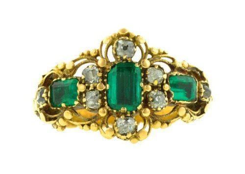 Georgian Emerald and Diamond Ring in 18k and 10k gold. Closed back settings, circa 1830.