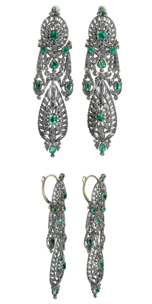 Georgian diamond and emerald earrings in silver. Spanish in origin, circa 1780.