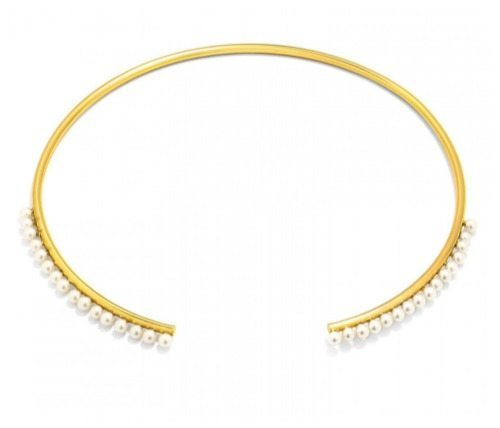 BaubleBar Gilly collar necklace in goldtone with pearl accents.