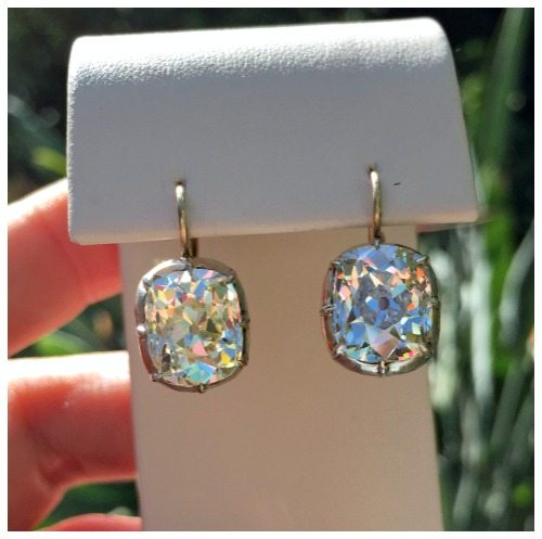 Glorious 9.46 carat antique cushion cut diamond drop earrings