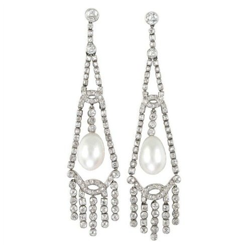 Important antique Art Deco pearl and diamond earrings, circa 1920.