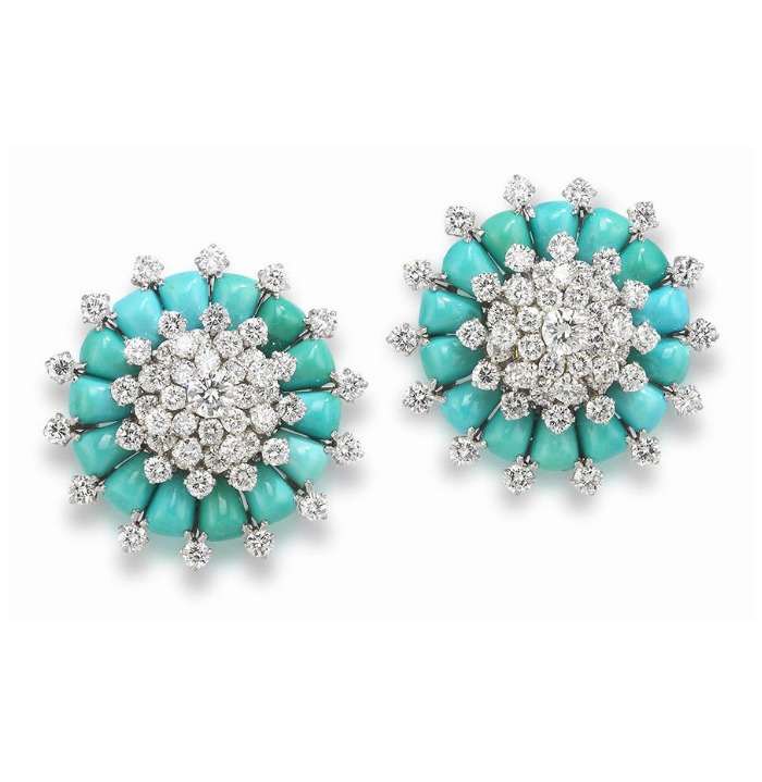 Incredible retro earrings by Van Cleef and Arpels, circa 1960. With turquoise and diamonds.
