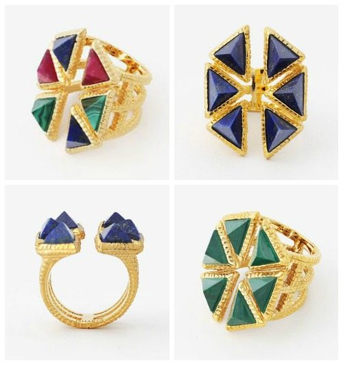 Isharya Croc triangle ring in lapis, malachite, or multicolor with red quartz.