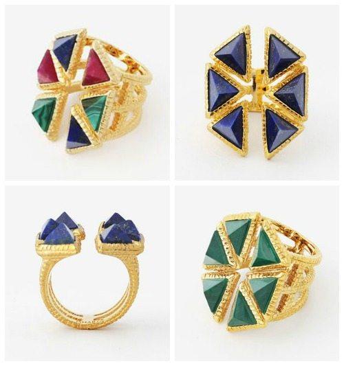 Isharya Croc triangle ring in lapis, malachite, or multicolor with red quartz.